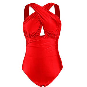 Women Sexy One Piece Sexy Monokini Swimsuit Tummy Tight Halter Neck Tankini Swimwear Plus Size