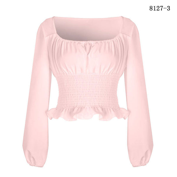 Women Femme Lantern Puff Sleeve Long Sleeve Ruched Pleating Waistband Chiffon Crop Top Blouse Short Shirt