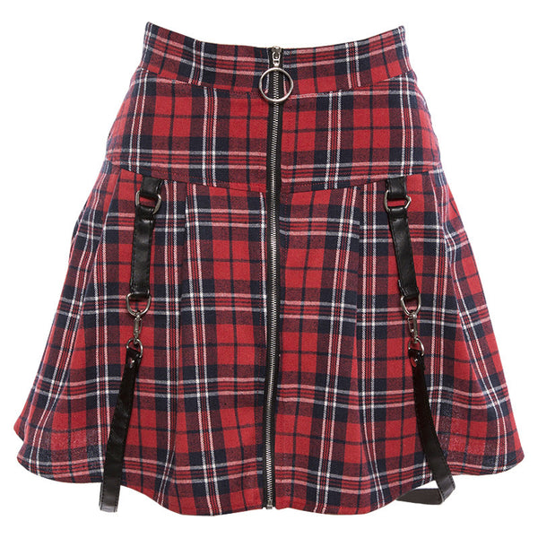 Women Girl Chic Gothic Petty skirt Pleated Plaid zipper A-line skirt Street Hipsters Style