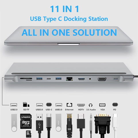11 in 1 USB Type C Hub Adapter Laptop Docking Station HDMI VGA RJ45 PD For MacBook HP Lenovo Surface Compatible Thunderbolt 3