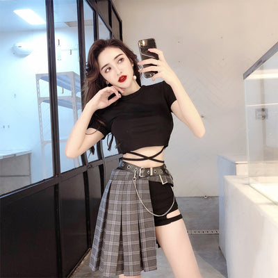 Retro strap black T-shirt Plaid Fold Pleated Skirt pants and belt