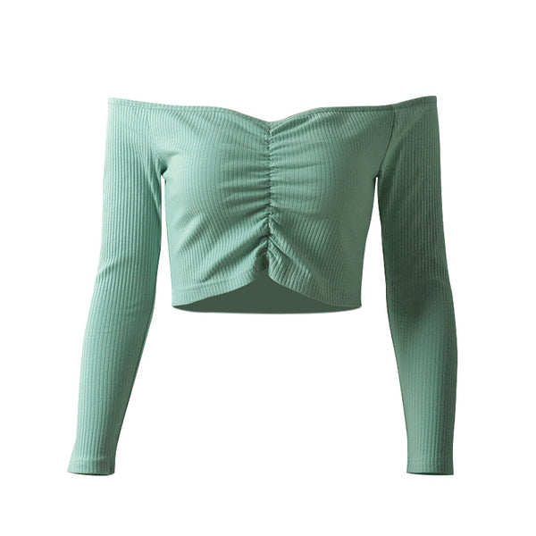 New Style Women Wear Long Sleeve Off Shoulder Blouse Slim Navel Crop Top Cotton Knit Breast Wrap T-shirt Tee