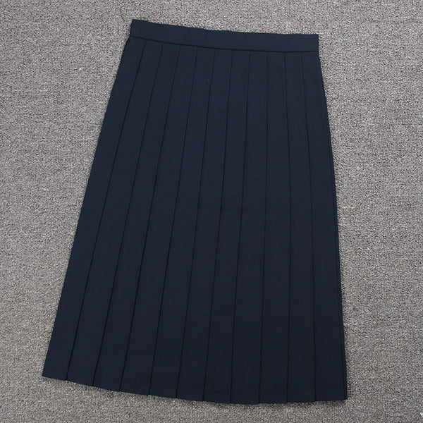 Over Knee long pleated skirt college uniform high waist with zipper straps Japanese JK Style