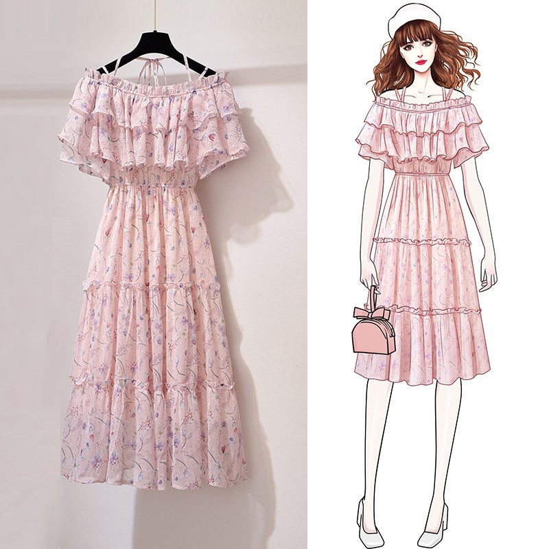 3D deco fairy maid frilly skirt off shoulder floral print chiffon ruffle dress