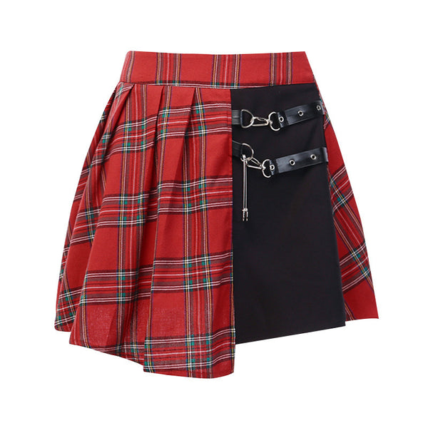 European Red and Black Checkered Plaid Gothic style pleated Skirt Pants Twin Belt Buckle Urban Leisure Style