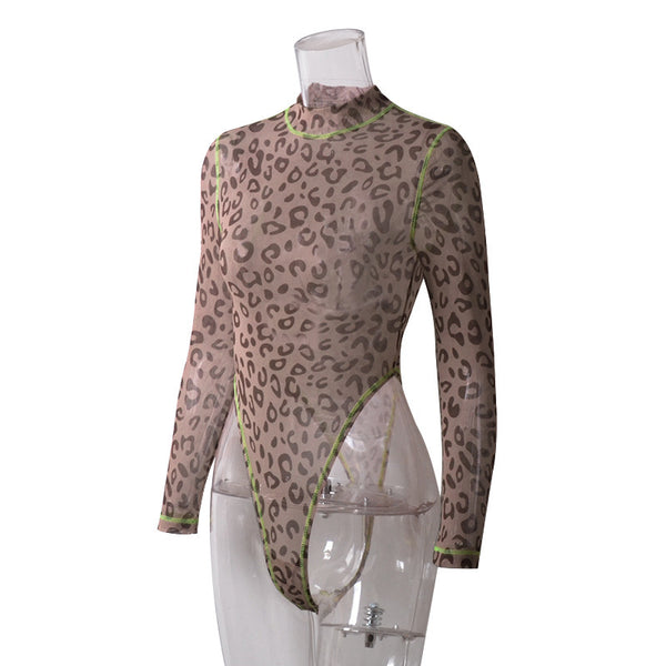 Femme Women Slim Fit New Leopard Print Long Sleeve Fluorescent Stretchy Overall Jumpsuit Turtle Neck Shirt Blouse