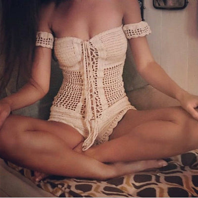 knitting craft monokini sexy crochet swimsuit sexy women bikini set