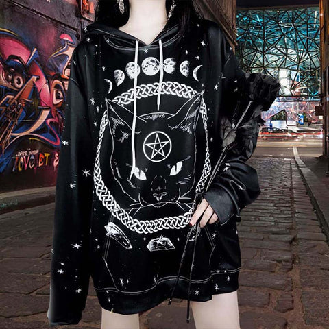 halloween women street fashion Pentagram Gothic style cat print loose fit hoodie hooded sweater tunica
