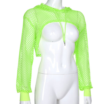Women new mesh hollow lace-up sunscreen blouse women neon fluorescent hoodie T-shirt scarf