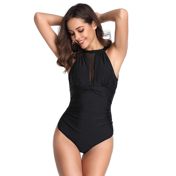 Women One Piece Swimsuit High Neck Plunge Mesh Ruched Monokini Swimwear