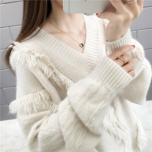 women v-neck pullover woolen sweater loose fit knitted sweatshirt twisted pattern knitwear one size