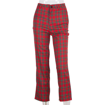 loose fit women retro checkered vintage straight  pants femme