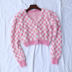 women sweater kawaii chessboard mink velvet short crop top knitted cardigan st01