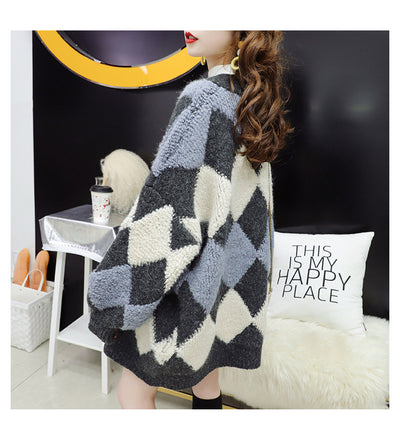 2021 Fairy Style Frauen Cardigan Koreanische Retro Loose Fit Pullover Instashop Argyle Plaid Strickjacke