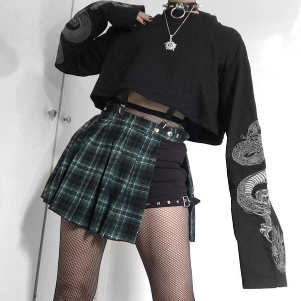 Long Sleeve dark Gothic dragon print loose fit Street Hipster Punk crop Sweater jacket