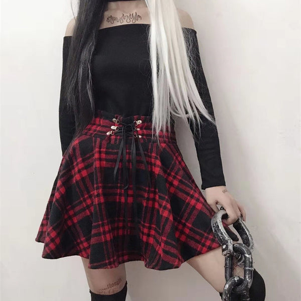 Lace Up Plaid Pleated Skirt High Waist A-line Swing Skater Mini Skirt Plus Size
