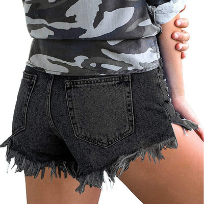 destroyed shorts with tassels high waist holes denim jeans hot ripped spandex pants