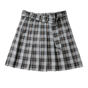 Plaid Pleated Mini Skirts Harajuku Grunge Gothic Streetwear High Waist Retro Dress