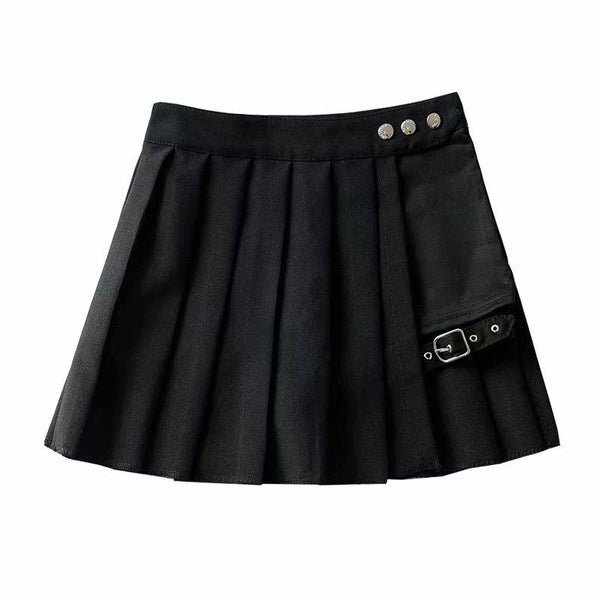 Punk Street Design RED Green Plaid Pleated Wrap College Irregular Skirt With Buckle Garter X892