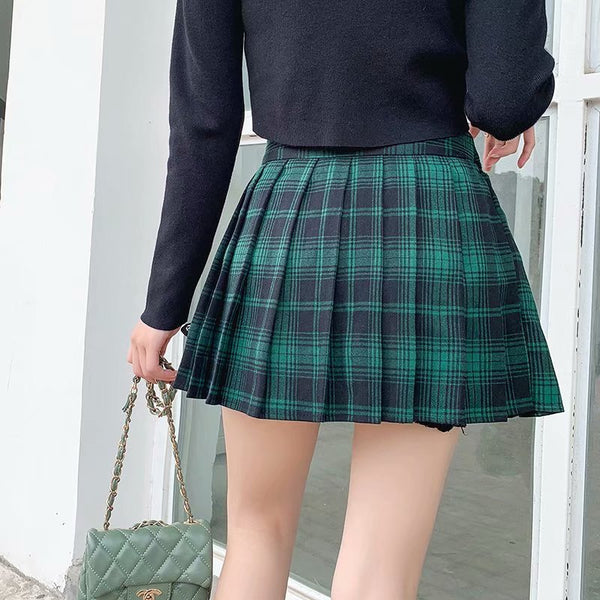 Punk Street Design Black Plaid Pleated Wrap College Irregular Skirt With Buckle Garter X892