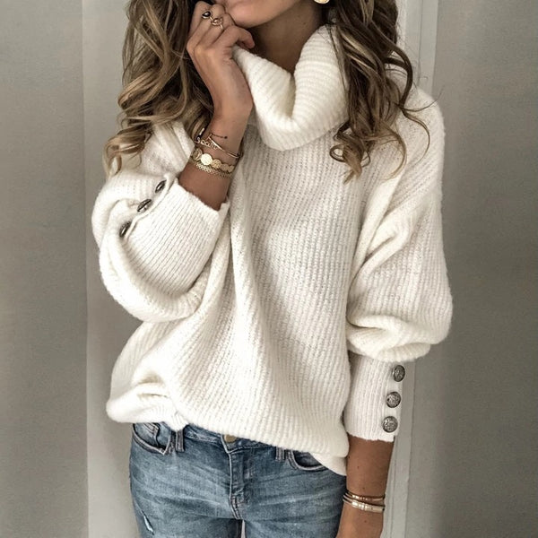 Women clothing fashion style high collar wool sweater top sweatshirt  cuff with buttons loose fit White plus size
