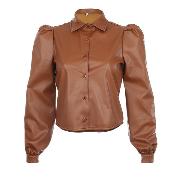 Designer 2021 leather bubble sleeves long-sleeved top shirt cardigan for Femme