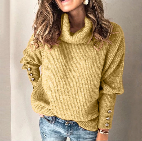 Women clothing fashion style high collar wool sweater top sweatshirt  cuff with buttons loose fit plus size