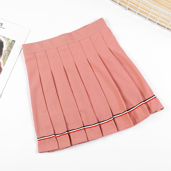 striped pleated skirt high waist autumn winter A-line skirt with safety pants