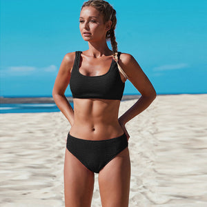 2020 European split Swimsuit Women Sexy Bikini Swimwear knitting jacquard Black LC411742