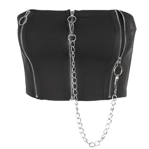 Femme Sexy Zipper Tubetop Crop length Slim Fit with Suspender Vest Gothic Street fashion HipHop