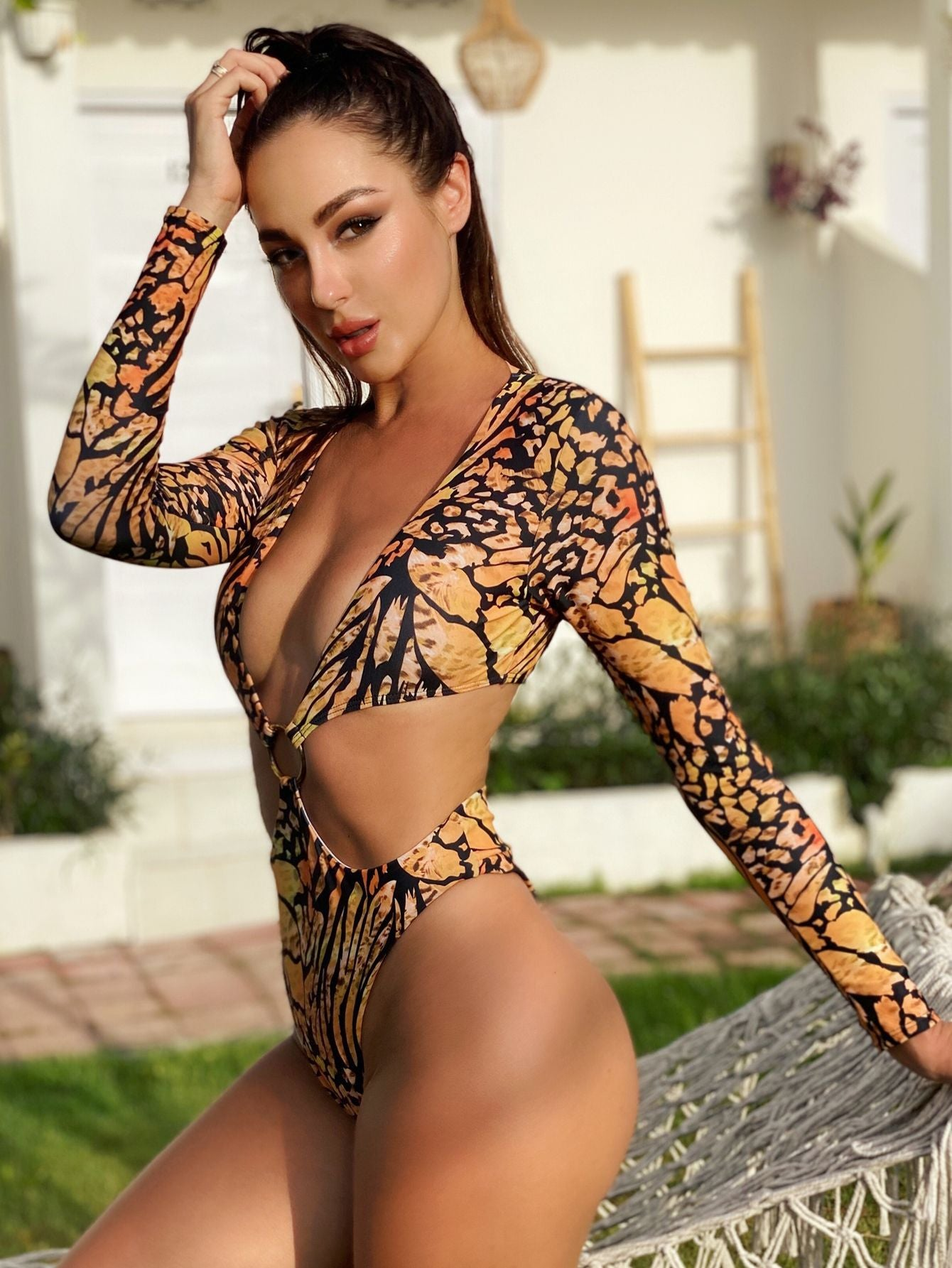 Animal Print one-piece Women bikini jumpsuit monokini irregular long-sleeved swimwear 2020