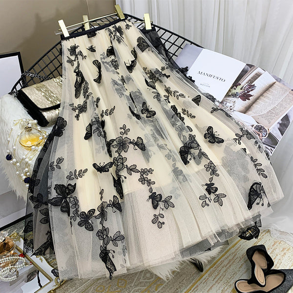 2021 high waist pleated skirt intense embroidered fairy dress multi-layer dress butterfly