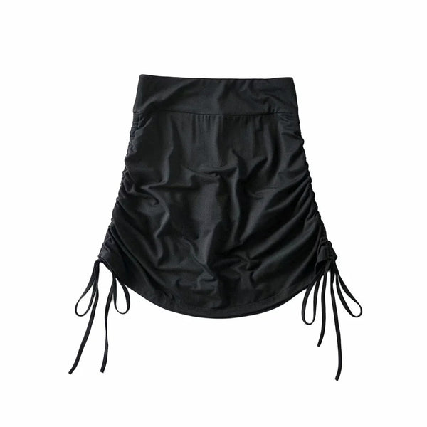 2021 sexy drawstring pleated buttocks skirt with pants spandex sports shorts tight fit