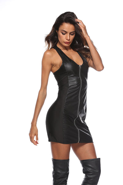 Gothic PVC Vinyl Faux Leather Mini Dress Clubwear Party Zip Costume Dress