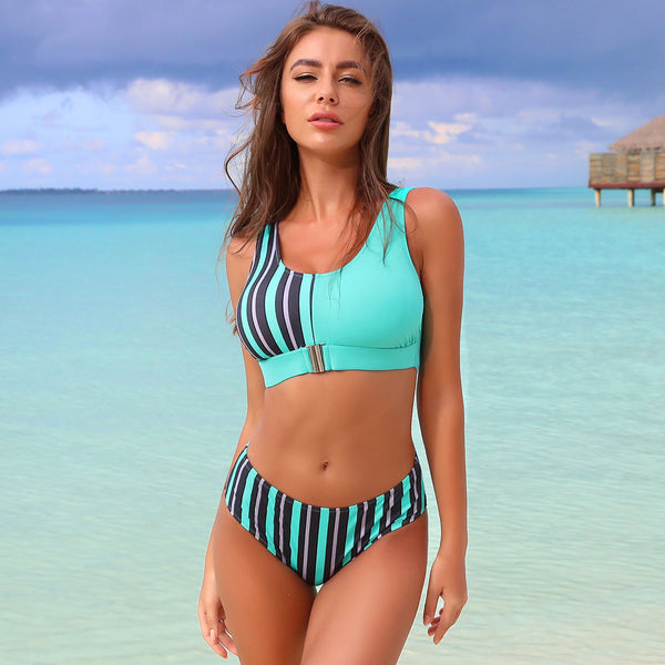 Hot Sexy Popular European US Zipper split bikini swimwear Beach Swimwear Leopard Prairie Chic