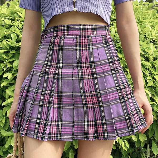 2021 Cute A-Line Plaid Skater High Waist Kawaii College Style pleated Skirt and Pants