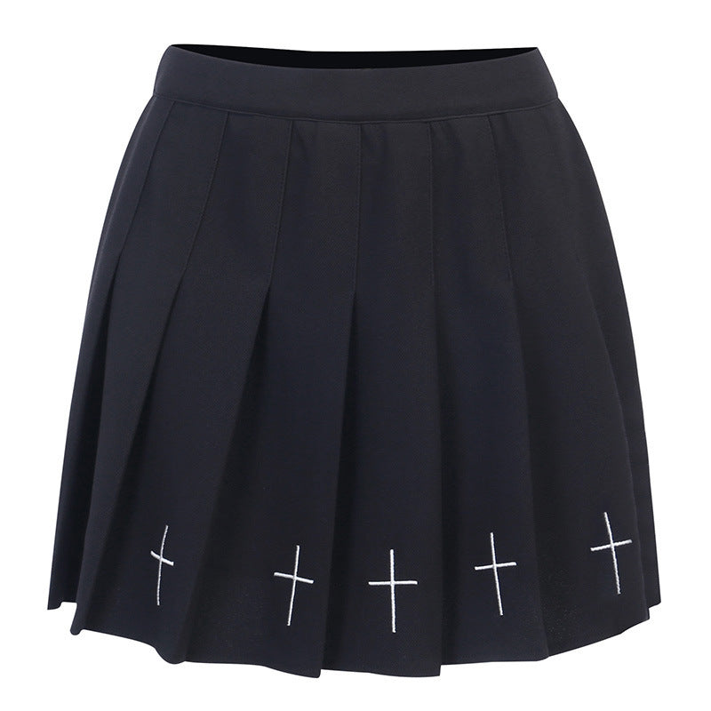 High Waist Mini Black Skirt Gothic Streetwear Cross Print Pleated Lolita Harajuku Skirt
