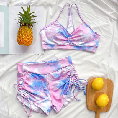 Swimsuit Yoga ladies Tie Dye Europe US Chic Style Swimwear Bikini 2pc Top and Pants Boxers
