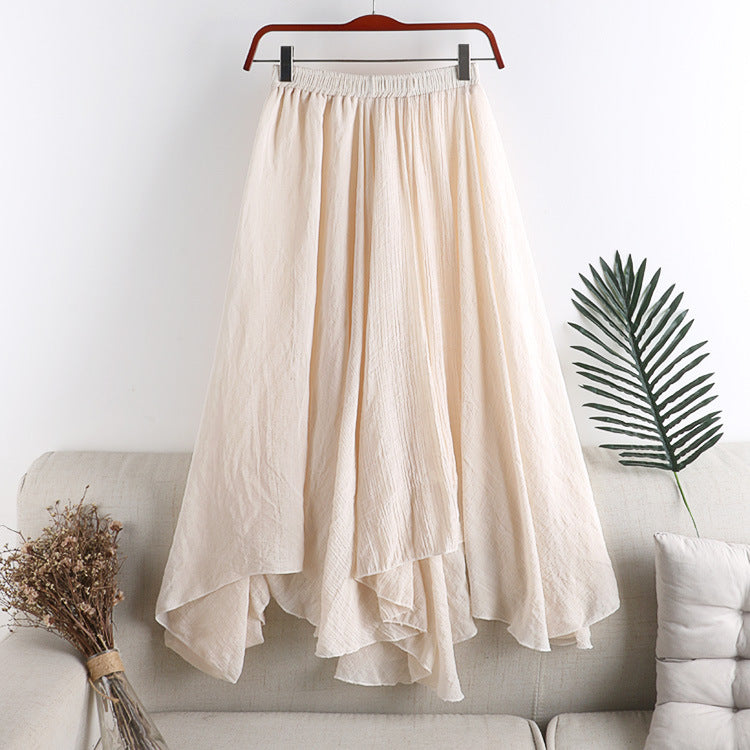 long linen dress elastic waist irregular pleat big swing fishtail skirt