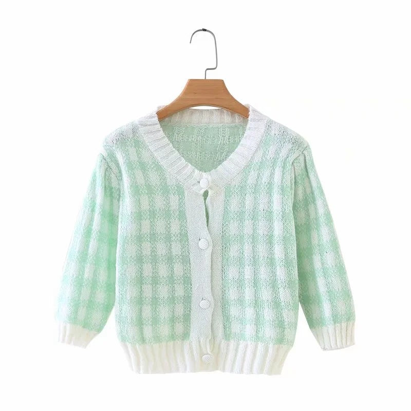 French Retro Bubble Short Sleeve Mohair Green White Plaid Sweater Knitwear Crop Cardigan for Girl