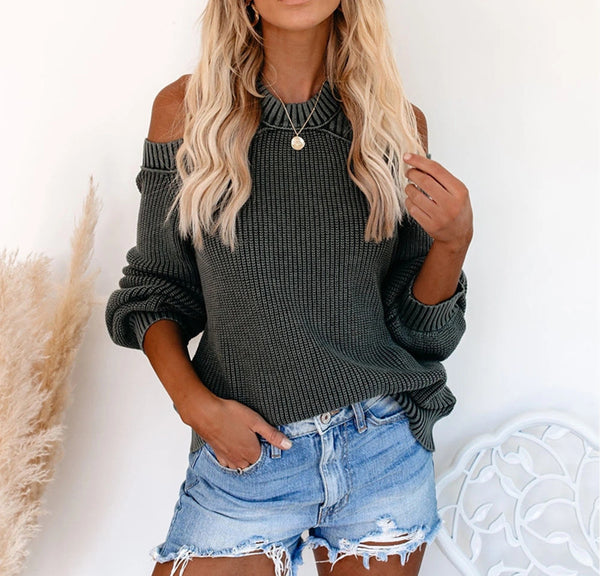 2020 Autumn Winter Oversize loose fit Off Shoulder Woman Sweater hollow cut Maglione Pullover Sweatshirt knitting SF1070