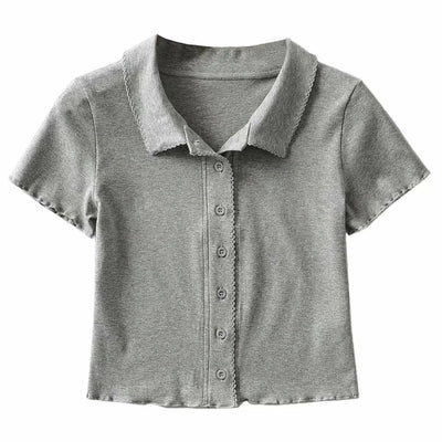 lapel collar stringy selvedge short-sleeved T-shirt knitwear cardigan ruffled top vest for women