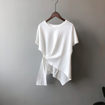 2021 asymmetric top designer pleated cotton tee design women casual ruched t-shirt pullover
