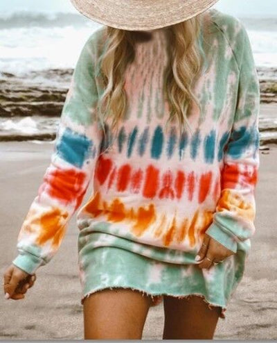 Women Tie-Dye Jumper Long Sleeve Loose Casual Sweatshirt Pullover Tops Plus Size Y-150