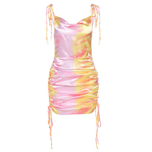 2020 Women Street Fashion Sexy backless Tie Dye Sling Ruffle Pencil Sleeveless Dress