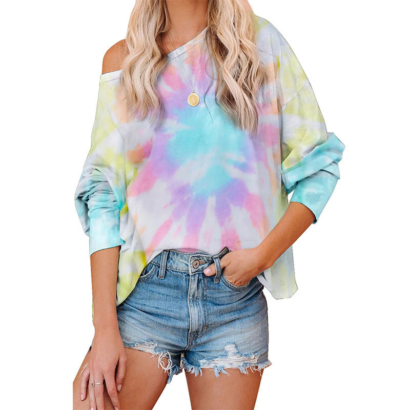 Women's Fashion Tie Dye Shirts Tops Round Neck Loose Top Off Shoulder Soft Pullover Sweater Blouse