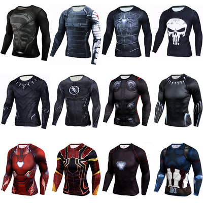 3D gedruckte Kompression T-Shirts Langarm Pullover Fitness Top Superheld Panther Soldat ActiveWear Bodybuilding Tee