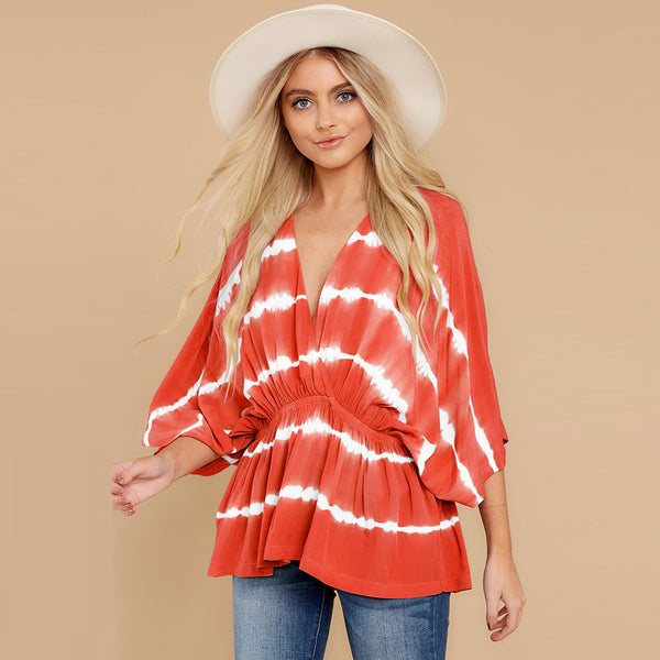 Popular Blogger Bat sleeve T-shirt Stripes Tie Dye Oversize Women Pullover Top Blouse