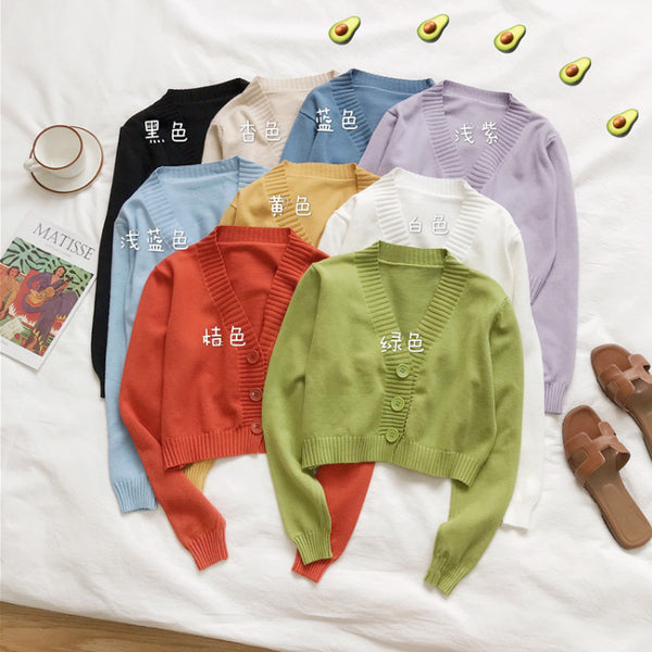 2021 Sweet 10 colors high-waisted sweater crop top solid color slim fit knitwear cardigan