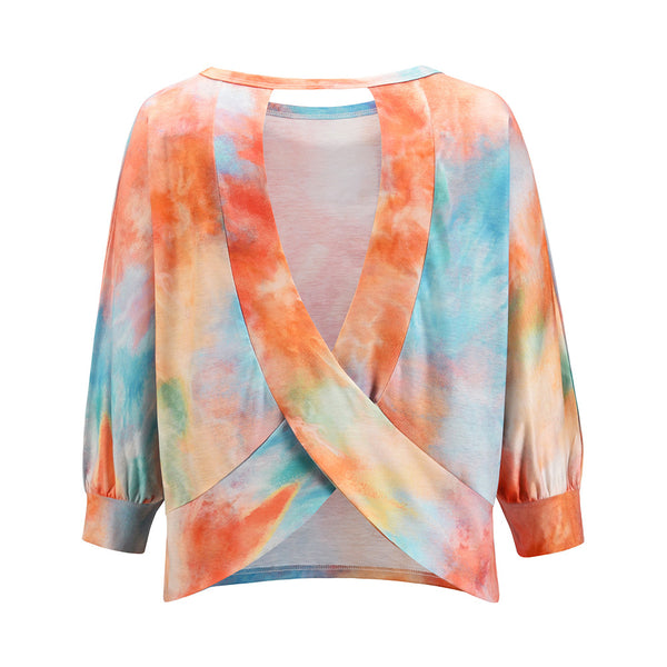 Sexy Round neck Open Back Sweater Autumn 2020 Loose Tie Dye Gradient long sleeve Pullover Top